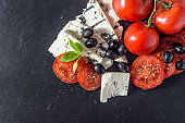 Italian salad with tomato and blue cheese, vegetarian food concept