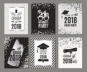 Graduation Class of 2018 silver greeting cards set. Vector party invitations. Grad posters. All isolated and layered