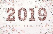Happy New Year Banner with glowing Rose Gold 2019 Numbers on white Background with Flying geometric and foil paper Confetti. Vector illustration. All isolated and layered