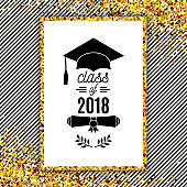 Class of 2018 greeting card with hat, scroll and laurel on stripe background for invitation, banner, poster, postcard. Vector graduate template. All isolated and layered