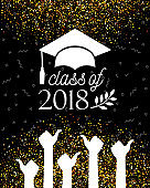 Class of 2018 Graduate banner with hat, laurel and Hands with Thumbs Up Sign as Like on confetti background for invitation, greeting card, poster, postcard. Vector graduation template