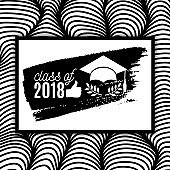 Class of 2018 graduate greeting card with hat, thumb up hand, laurel and ink brush stroke on waves background for invitation, banner, poster, postcard. Vector graduation template. All isolated and layered