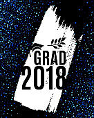 Class of 2018 graduate greeting card with hat, laurel and ink brush stroke on black background with blue glitter confetti for invitation, banner, poster, postcard. Vector graduation template