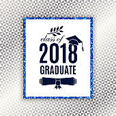 Class of 2018 graduate poster with hat, scroll, laurel on seamless triangle background with glitter frame for invitation, banner, greeting card, postcard. Vector template. All isolated and layered