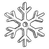 Vector Single Black Sketch Illustration - Snowflake on White Background