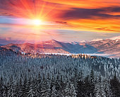 Majestic landscape in the winter mountains at sunrise. Dramatic and picturesque wintry scene.