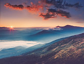 Amazing landscape in the mountains at sunrise.