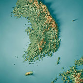 Republic of Korea 3D Render Topographic Map