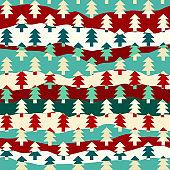 Christmas trees seamless pattern. Vector Illustration.