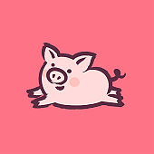 Chinese New Year 2019 greeting card with cute pig on pink background