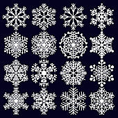 Snowflakes Set. White winter elements for design on dark blue background.