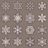 Collection of snowflakes with shadow. Set of pink elements for design on a dark background.