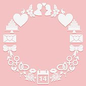 St. Valentine Day round frame icons on a pink background. The shape a ring.