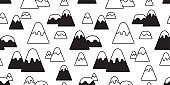 mountain seamless pattern vector snow mountain hill wood forest scarf isolated wallpaper background cartoon doodle