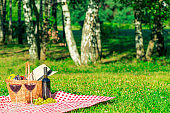 two glasses of red wine and a picnic basket with fruit on a tablecloth in a summer park