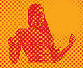 Comic style halftone dot illustration of Excited woman gesturing