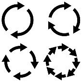 Set sign reload refresh icon, spinning arrows in circle, vector symbol sync, renewable crypto currency exchange, change renew vector