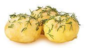 Three young boiled potatoes in dill