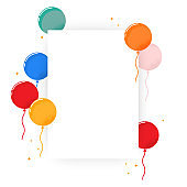 Blank poster with colorful balloon. Simple design