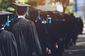 shot of graduation hats during commencement success graduates of the university, Concept education congratulation Student young ,Congratulated the graduates in University.