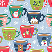 Seamless pattern for Christmas holiday with cocoa chocolate cup.