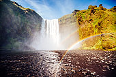 Great view of Skogafoss waterfall. Location famous place Skoga river, highlands of Iceland, Europe