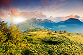 Beautiful view of rural alpine landscape. Carpathian, Ukraine, Europe.