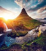 Fantastic Kirkjufell volcano the coast of Snaefellsnes peninsula. Location place Kirkjufellsfoss, Iceland, Europe