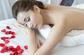 beautiful and healthy cute girl  relax at beauty spa salon massage