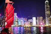 Hong Kong harbor view from junk boat at night
