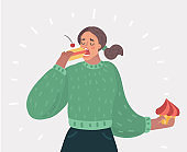 Woman with closed eyes is eating cake