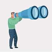 Man looking through binocular.
