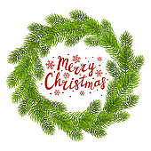 Round Christmas wreath isolated on white