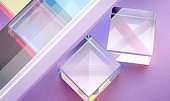 bright transparent glass cubes and reflection
