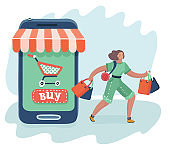 Women are near big smartphone with purchase.