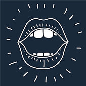 cartoon vector outline illustration human mouth open