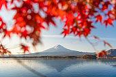 Fuji mountain and Kawaguchiko lake in morning, Autumn seasons Fuji mountain at yamanachi in Japan.
