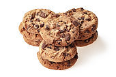 Fresh baked, american cookies and chocolate fudge brownies, cafe or snack shop