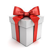 Gift box or present box with red ribbon bow isolated on white background with shadow 3D rendering