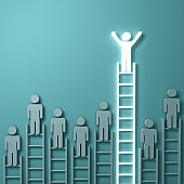 Stand out from the crowd and think different concepts , One light man standing with arms wide open on top of the longest ladder above other dim people on light green background . 3D rendering
