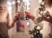 Two women are toasting for a successful new year 2019