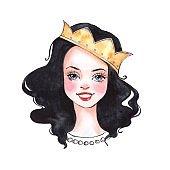 Cute cartoon girl. Princess