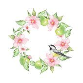 Watercolor floral wreath with bird, isolated on white