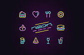 Set of fast food icons in the form of neon lamps
