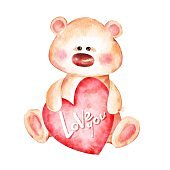Cute teddy bear and red heart. Watercolor
