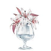 Glass vase with flowers. Lilies