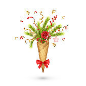 Christmas Composition in a Waffle Cone