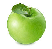 Green cooking apple isolated on white background