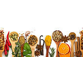 Different spices, seasonings and herbs