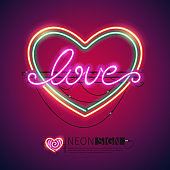 Love Heart Colorful Neon Sign